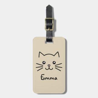 Étiquette À Bagage Visage mignon de chat de chaton de Kawaii avec le
