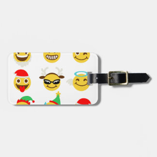 Étiquette À Bagage visages heureux d'emoji de Noël