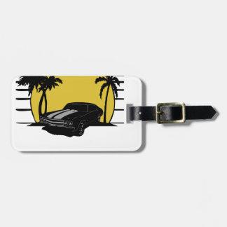 Étiquette À Bagage Voiture vintage de plage de surf (nommé) de couche