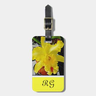 Étiquette À Bagage Voyage jaune de fleur d'orchidée
