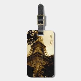 Étiquette À Bagage Voyage vintage, étiquette de bagage de Tour Eiffel