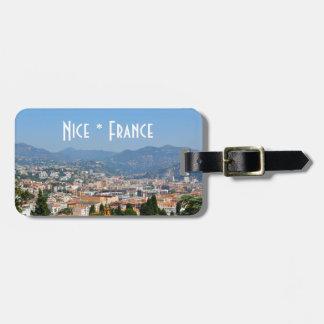Étiquette À Bagage Vue aérienne de la ville de Nice en France