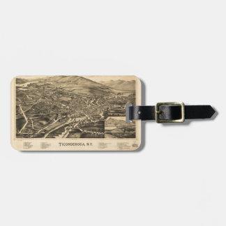 Étiquette À Bagage Vue aérienne de Ticonderoga, New York (1891)