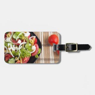 Étiquette À Bagage Vue aérienne d'une partie de salade végétale