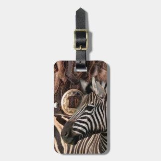 Étiquette À Bagage zèbre primitif rustique d'animal de safari de