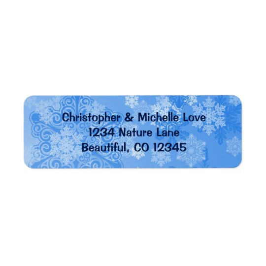 Étiquette Adresse assez bleue et blanche d'hiver de flocons