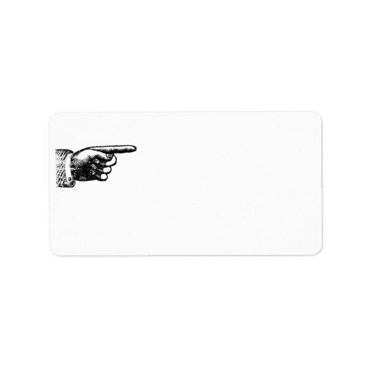 Étiquette Adresse blanche en blanc vintage drôle de la main