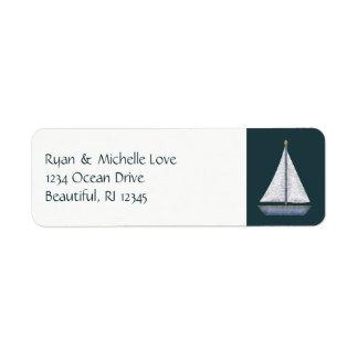 Étiquette Adresse bleue et blanche de voilier nautique