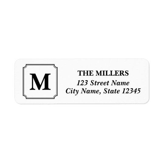 Étiquette Adresse classique moderne de monogramme Editable