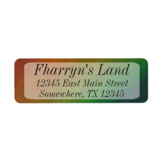 Étiquette Adresse colorée d'arc-en-ciel d'airain du bureau  