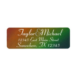 Étiquette Adresse colorée d'arc-en-ciel d'airain du mariage