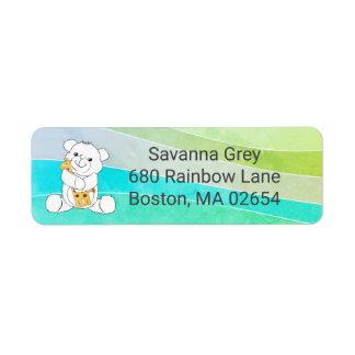 Étiquette Adresse colorée de rayures d'ours et de girafe de