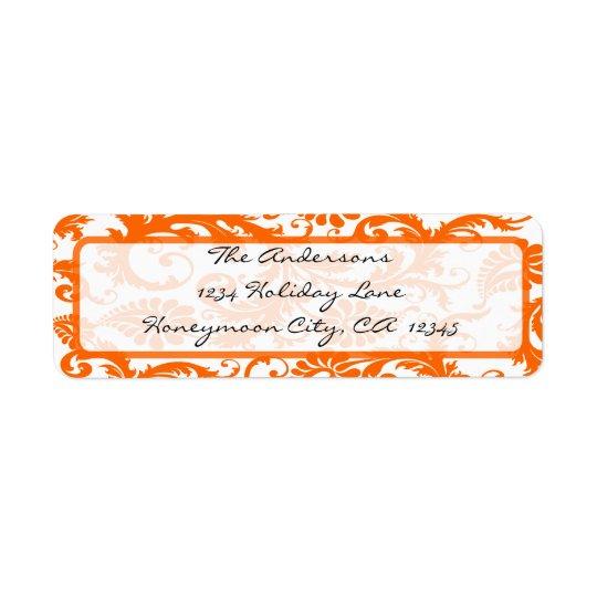 Étiquette Adresse de corail orange de calligraphie de noir