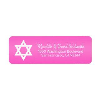 Étiquette Adresse de retour de bat mitzvah d'étoile de David