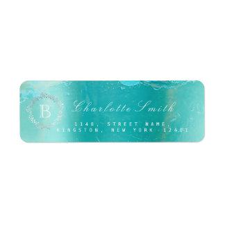 Étiquette Adresse de retour de bleu d'océan de guirlande de