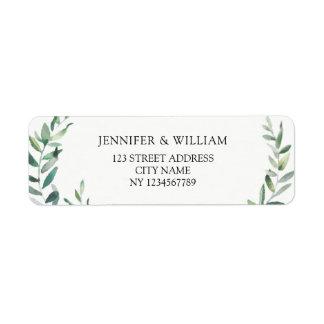 Étiquette Adresse de retour de branche d'olivier botanique