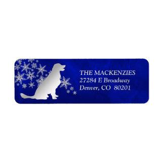 Étiquette Adresse de retour de chien d'arrêt bleu d'hiver