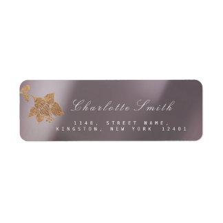 Étiquette Adresse de retour de Coffe d'or de noir nacré en