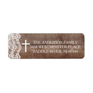 Étiquette Adresse de retour de dentelle en bois rustique