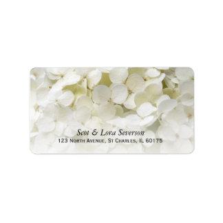 Étiquette Adresse de retour de fleur blanche d'hortensia