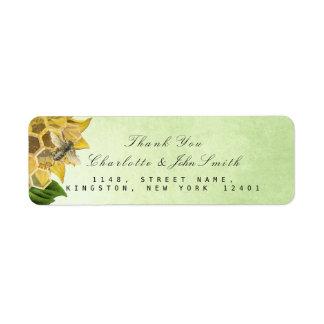 Étiquette Adresse de retour de menthe de tournesol d'abeille