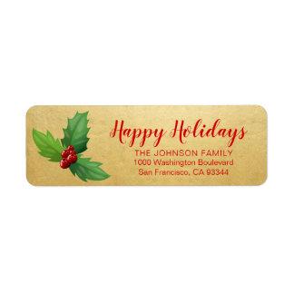 Étiquette Adresse de retour de Noël de vacances heureuses
