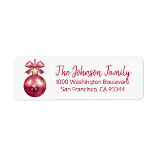 Étiquette Adresse de retour de Noël rouge d'ornement