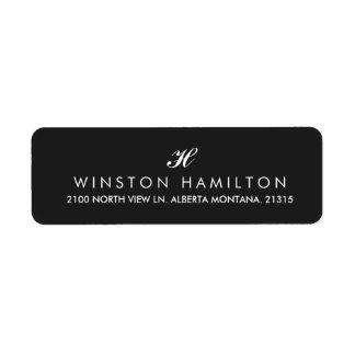 Étiquette Adresse de retour de noir d'entreprise de style