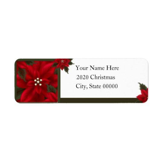 Étiquette Adresse de retour de poinsettia de Noël