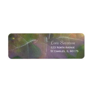 Étiquette Adresse de retour d'hortensia de feuille de chêne