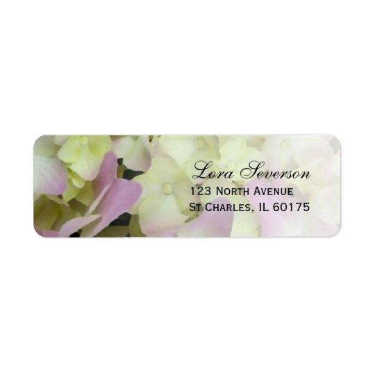 Étiquette Adresse de retour d'hortensia presque rose