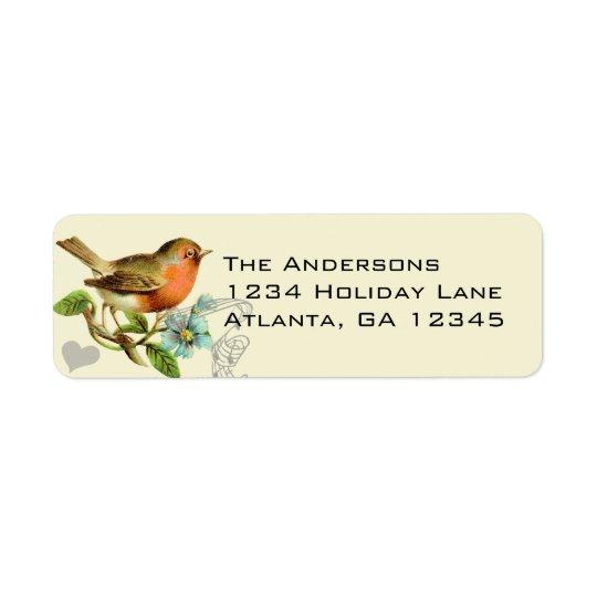 Étiquette Adresse de retour d'oiseau vintage musical de