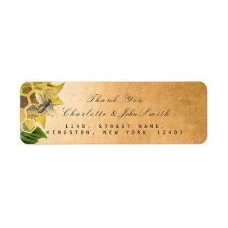 Étiquette Adresse de retour d'or de tournesol d'abeille de