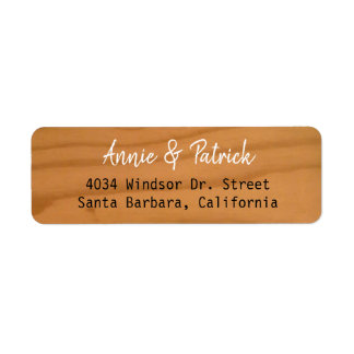 Étiquette adresse de retour en bois de noms élégants de