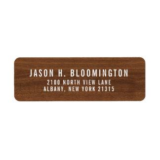Étiquette Adresse de retour en bois foncée du grain |