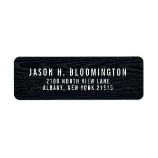 Étiquette Adresse de retour en bois noire du grain  