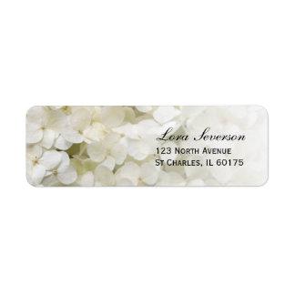 Étiquette Adresse de retour florale d'hortensia blanc