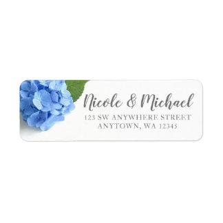 Étiquette Adresse de retour florale d'hortensia bleu