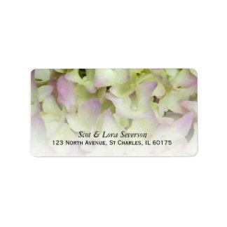 Étiquette Adresse de retour florale d'hortensia presque rose