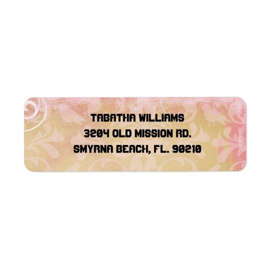 Étiquette Adresse de retour Labe de motif rose-clair mignon