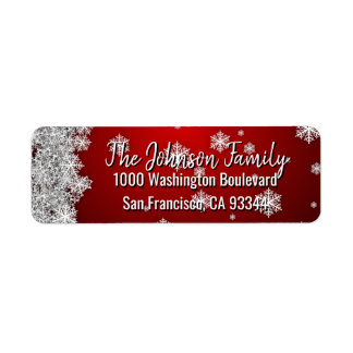 Étiquette Adresse de retour ROUGE de Noël de vacances de