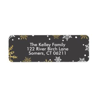 Étiquette Adresse d'or de vacances de flocons de neige