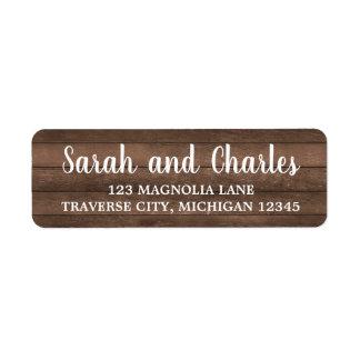 Étiquette Adresse en bois foncée de charme rustique