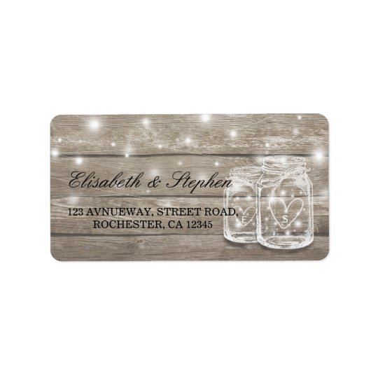 Étiquette Adresse en bois rustique de mariage de lumière de