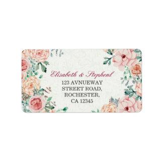 Étiquette Adresse florale botanique de mariage d'aquarelle