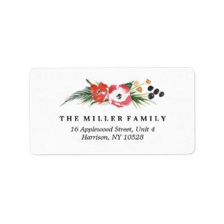 Étiquette Adresse florale de vacances d'aquarelle chic