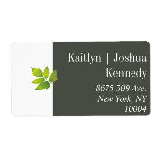 Étiquette Adresse minimaliste de mariage d'automne de chêne