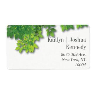 Étiquette Adresse minimaliste de mariage de chêne d'automne