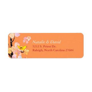 Étiquette Adresse orange de mariage d'oiseau mignon de
