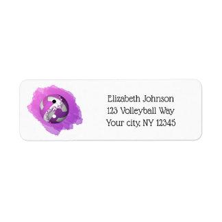 Étiquette adresse pourpre de volleyball de yang de yin